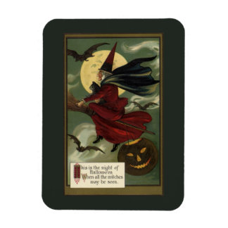 Vintage Halloween Witch Riding a Broom with Cat Rectangular Photo Magnet