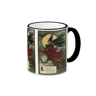 Vintage Halloween Witch Riding a Broom with Cat Ringer Mug