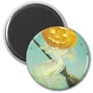 Vintage Halloween Witch Riding Broomstick Magnet