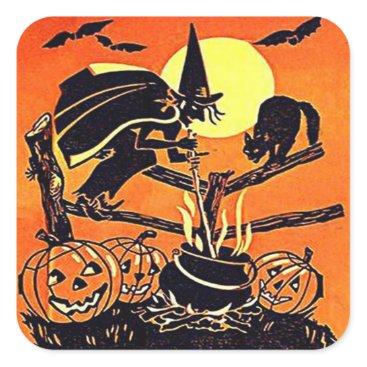 Halloween Themed Vintage Halloween Witch Sticker