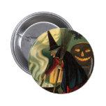 Vintage Halloween Witch Stirring Magic Cauldron Button