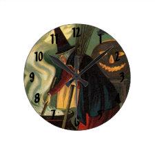 Vintage Halloween Witch Stirring Magic Cauldron Wall Clocks