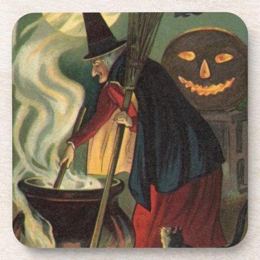 Vintage Halloween Witch Stirring Magic Cauldron Beverage Coasters