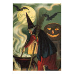 Vintage Halloween Witch Stirring Magic Cauldron Custom Announcements