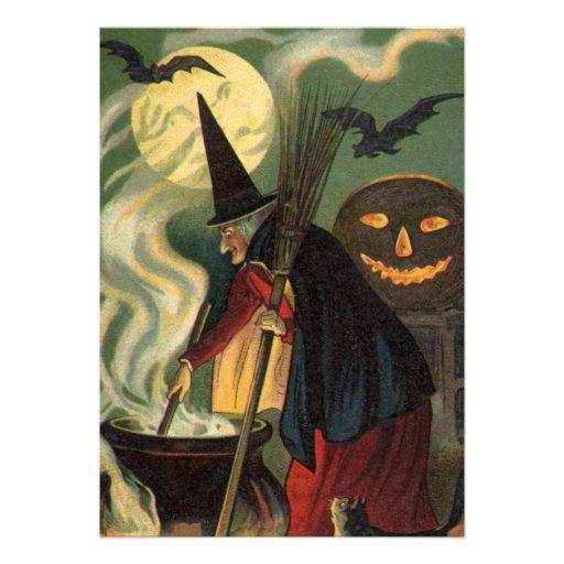 Crow And Cauldron Vintage Halloween: Vintage Halloween Witch Stirring Magic Cauldron 5x7 Paper