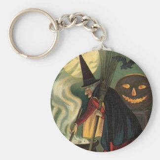 Vintage Halloween Witch Stirring Magic Cauldron Keychain