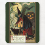 Vintage Halloween Witch Stirring Magic Cauldron Mouse Pad