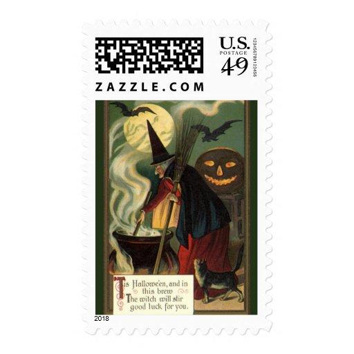 Crow And Cauldron Vintage Halloween: Vintage Halloween Witch Stirring Magic Cauldron Stamps