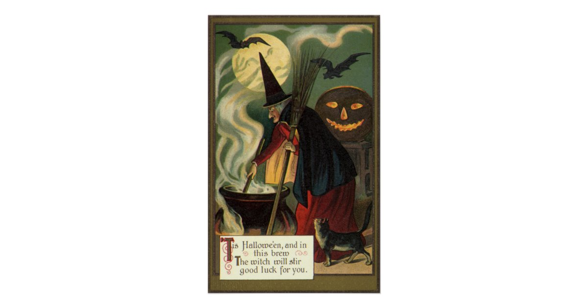 Vintage Halloween Witch Stirring Magic Cauldron Poster