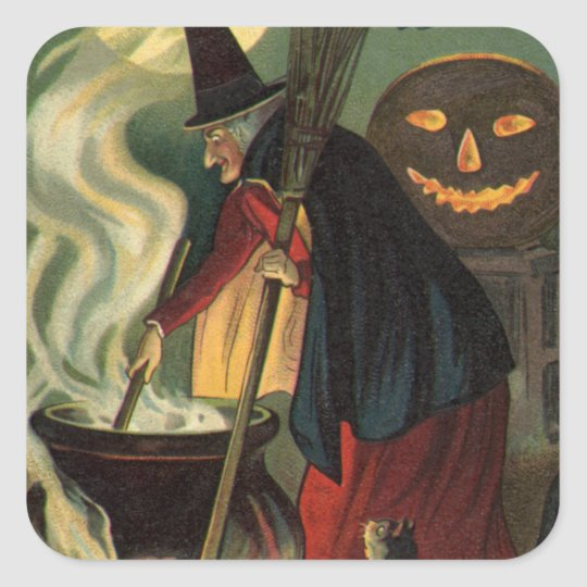 Vintage Halloween Witch Stirring Magic Cauldron Square Sticker