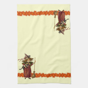 Vintage Halloween Witch w Cat Towels