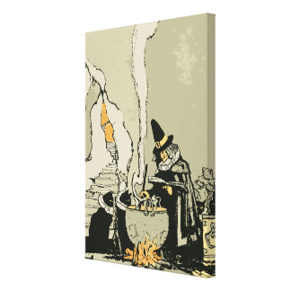 Vintage Halloween, Witch with Cauldron and Cats Canvas Print