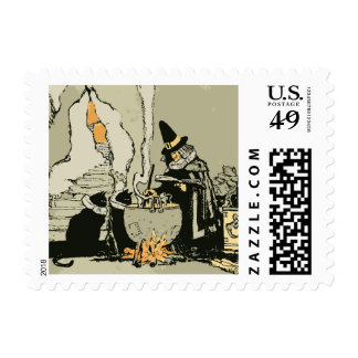 Vintage Halloween, Witch with Cauldron and Cats Postage