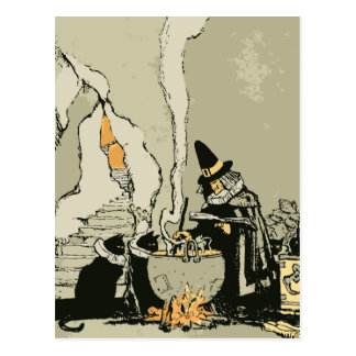 Vintage Halloween, Witch with Cauldron and Cats Postcard