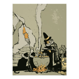 Vintage Halloween, Witch with Cauldron and Cats Poster