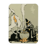 Vintage Halloween, Witch with Cauldron and Cats Rectangular Photo Magnet