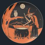 "Vintage Halloween Witch with Cauldron Dinner Plate<br><div class=""desc"">Vintage Halloween Witch with Cauldron Stickers</div>"