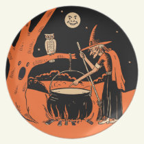 Vintage Halloween Witch with Cauldron Dinner Plate