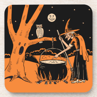 Vintage Halloween Witch with Cauldron Drink Coaster