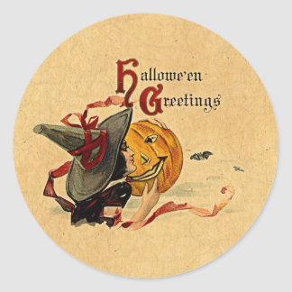 Vintage Halloween Witch With Red Ribbons Classic Round Sticker