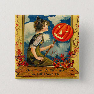 Vintage Halloween Witche Button