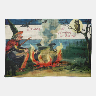 Vintage Halloween Witches Brew & Owl Hand Towels