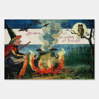 Vintage Halloween Witches Brew & Owl Lawn Sign