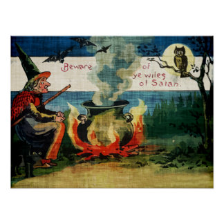 Vintage Halloween Witches Brew & Owl Poster