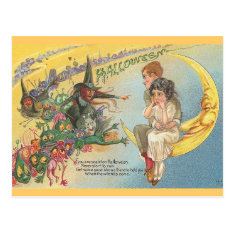 Vintage Halloween Witches Goblins Postcard at Zazzle