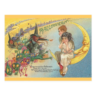 Vintage Halloween Witches Goblins Postcard