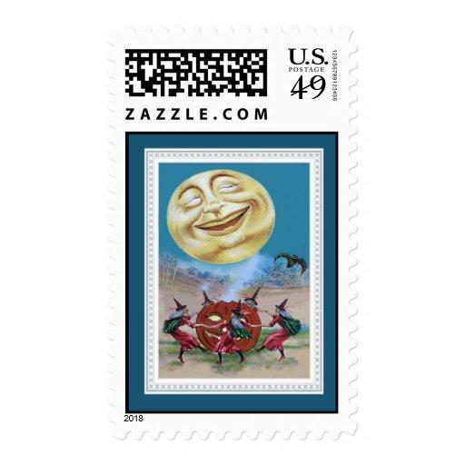 Vintage Halloween Witches Stamp