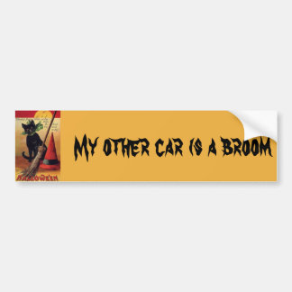 Vintage Halloween with a Black Cat and Witch's Hat Bumper Sticker