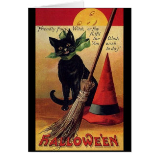 Vintage Halloween with a Black Cat and Witch's Hat Card