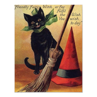 Vintage Halloween with a Black Cat and Witch's Hat 4.25x5.5 Paper Invitation Card