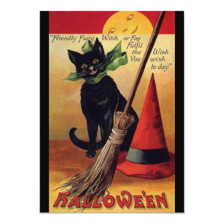 Vintage Halloween with a Black Cat and Witch's Hat 5x7 Paper Invitation Card