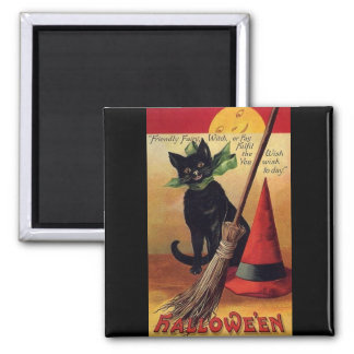 Vintage Halloween with a Black Cat and Witch's Hat 2 Inch Square Magnet