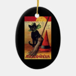 Vintage Halloween with a Black Cat and Witch's Hat Double-Sided Oval Ceramic Christmas Ornament