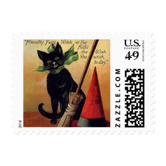 Vintage Halloween with a Black Cat and Witch's Hat Postage Stamp
