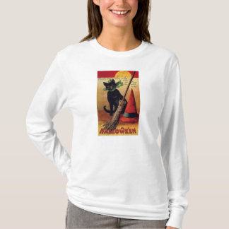 Vintage Halloween with a Black Cat and Witch's Hat T-Shirt