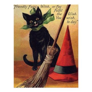 Vintage Halloween with a Black Cat Broom and Hat Invites