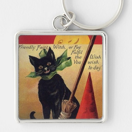 Vintage Halloween with a Black Cat, Broom and Hat Key Chains