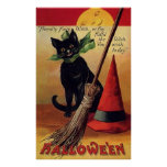 Vintage Halloween with a Black Cat, Broom and Hat Posters