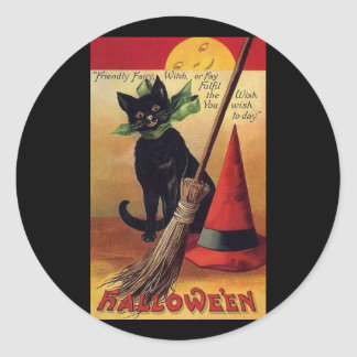 Vintage Halloween with a Black Cat Broom and Hat Stickers