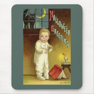 Vintage Halloween with Scared Child and Black Cat Mouse Pad