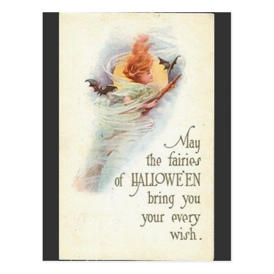 vintage-halloween-woman-bats-broomstick-card postcard