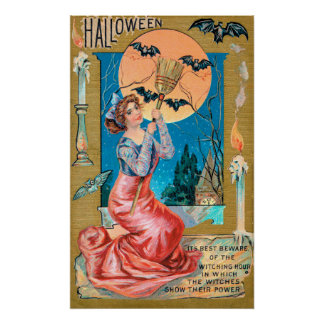 Vintage Halloween woman bats Holiday poster