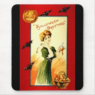 Vintage Halloween Woman wishing Greetings Mouse Pad