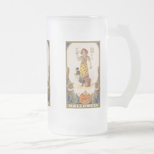 Vintage Halloween Woman with Cats, Apples Mug