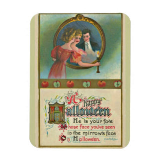Vintage Halloween Woman With Man In Mirror Magnet