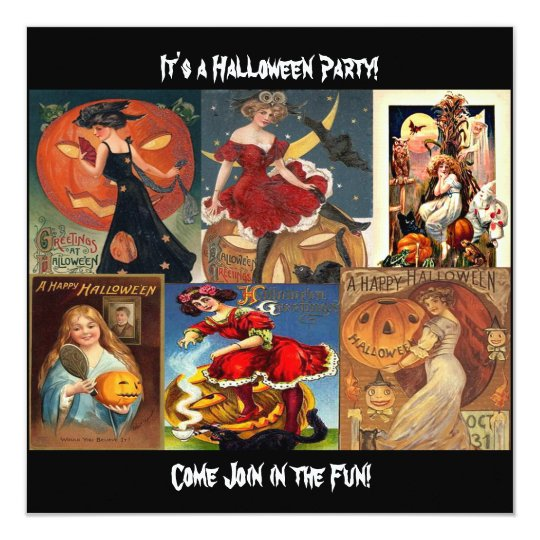 Vintage Halloween Women Montage Invitation Card